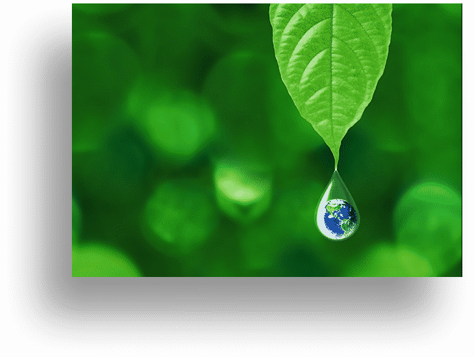 close up of water drop on leaf with a planet earth reflection of the water drop